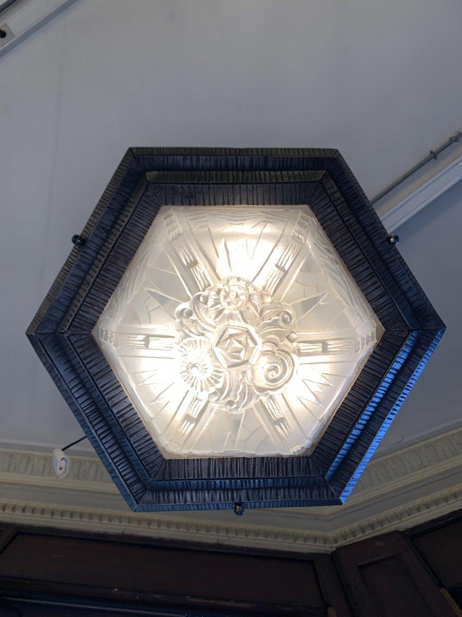 Plafonnier Art Déco Hexagonal  M. Vasseur Et Müller Frères (plafonniers Art Deco 1930)