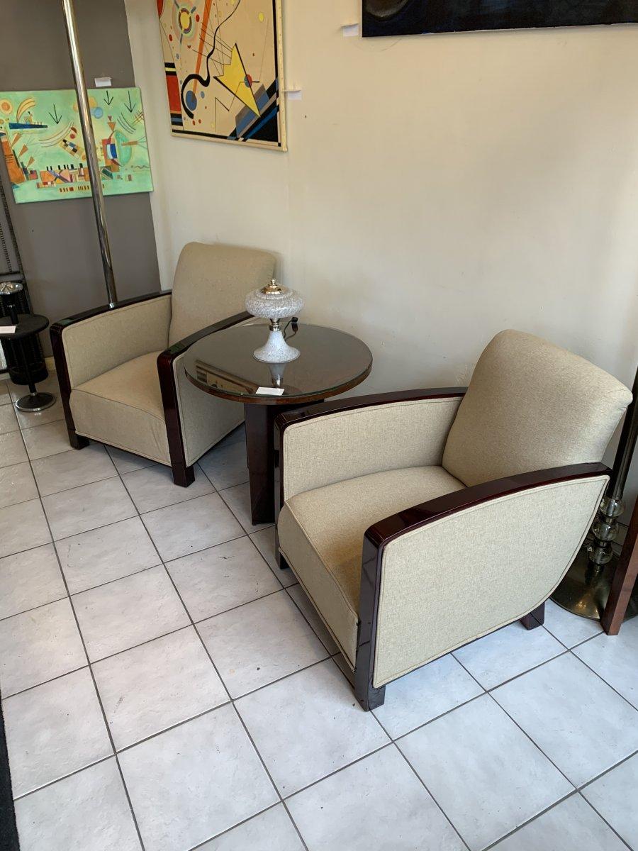 Paire De Fauteuils Art Déco Avec Accotoirs En Palissandre (fauteuil - Chaise Art Deco 1930)