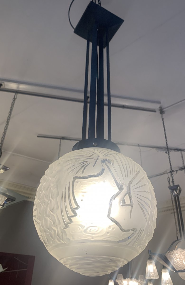 Art Deco Suspension Ball With Peacocks Signed Müller Fres Lunéville (art Deco Ceiling 1930)
