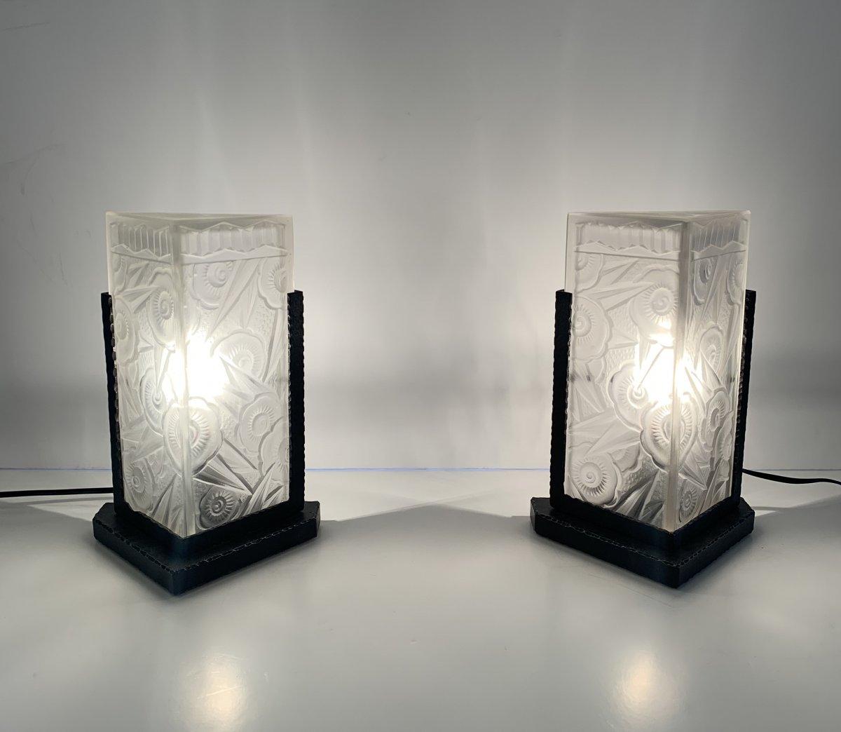 Paire De Lampes / Veilleuses Art Déco J. Robert ( Lampe Art Deco 1930)