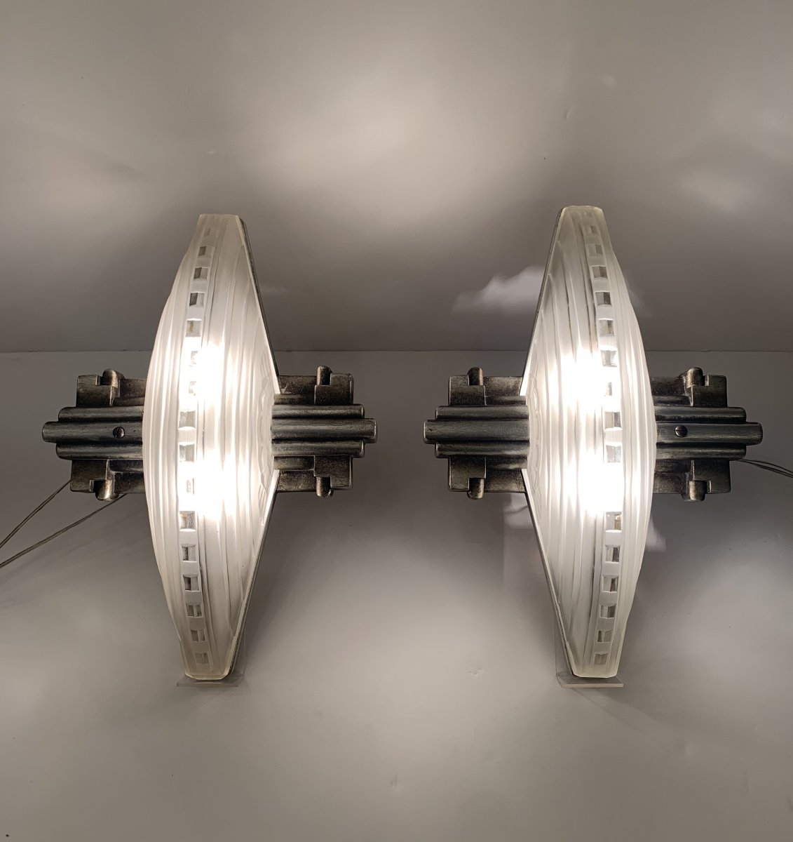 Exceptional Pair Of Art Deco Wall Lights