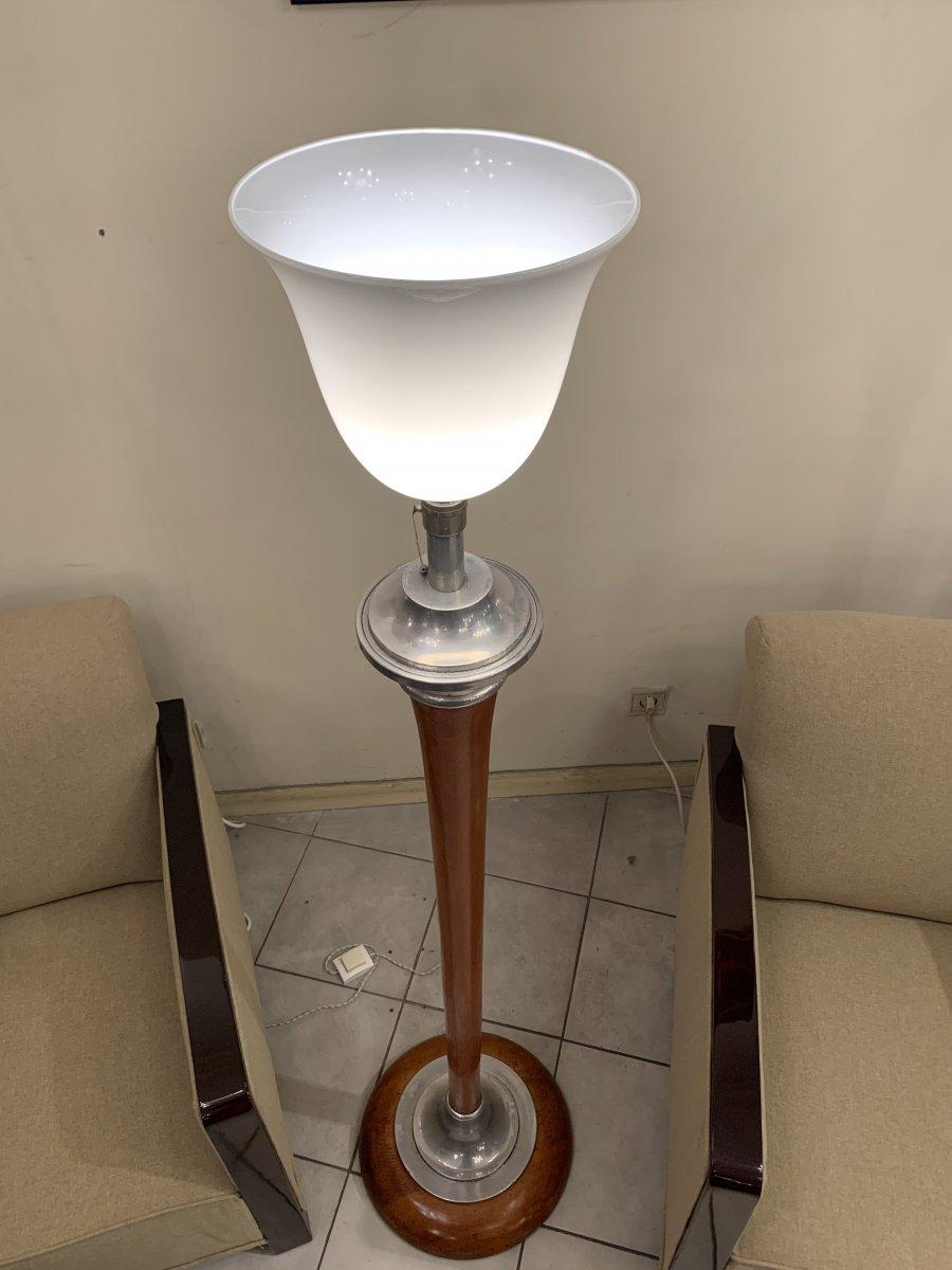 Lampadaire Art Déco Mazda [marqué] En Bois Tourné ( Lampe - Lampadaires Art Deco 1930 )
