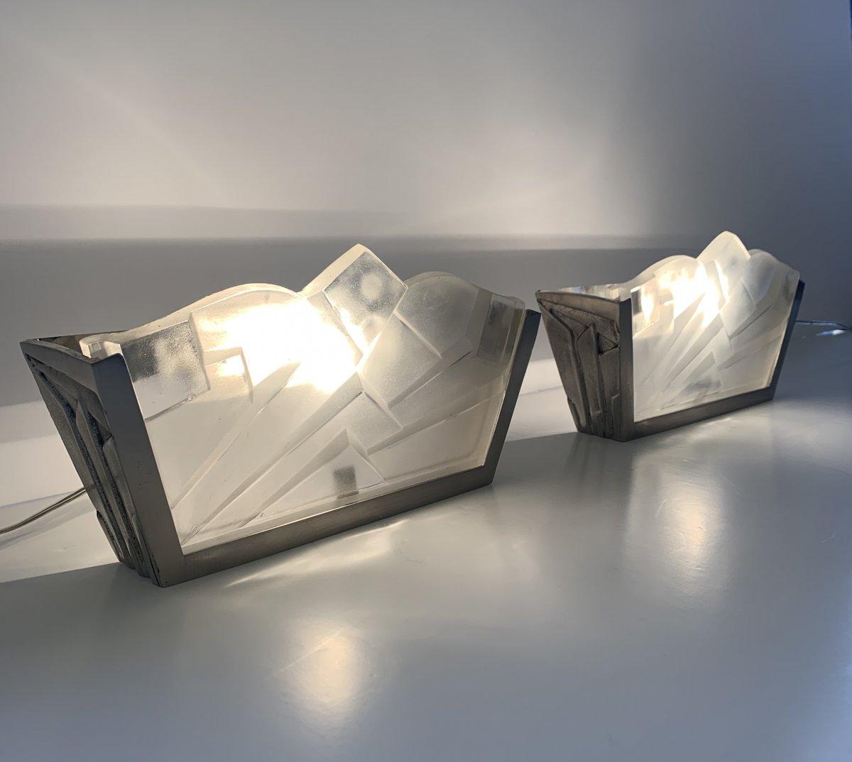 Paire d'Appliques Art Déco Trapézoïdale Signée Degué ( Applique - Lampe Art Deco 1930)