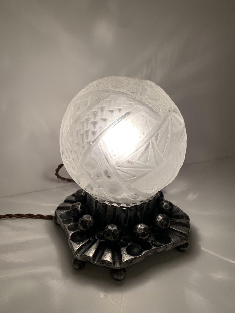 Lampe à Poser Art Déco Müller  Et Vasseur {signée Dans Le Décor} ( Lampes Art Deco 1930 )