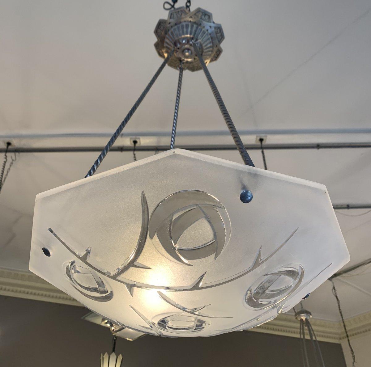 Suspension / Plafonnier Art Déco Octogonale Signée Degué ( Lustre Art Deco 1930)