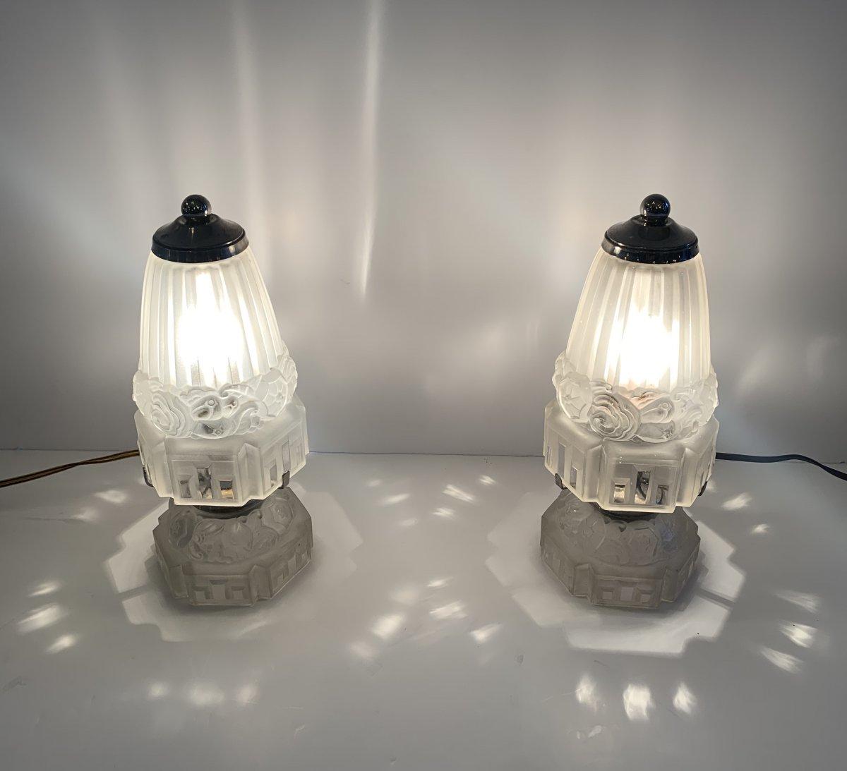 Paire De Lampes à Poser Ou Veilleuses  Art Déco J. Robert ( Lampe / Luminaire Art Deco 1930 )