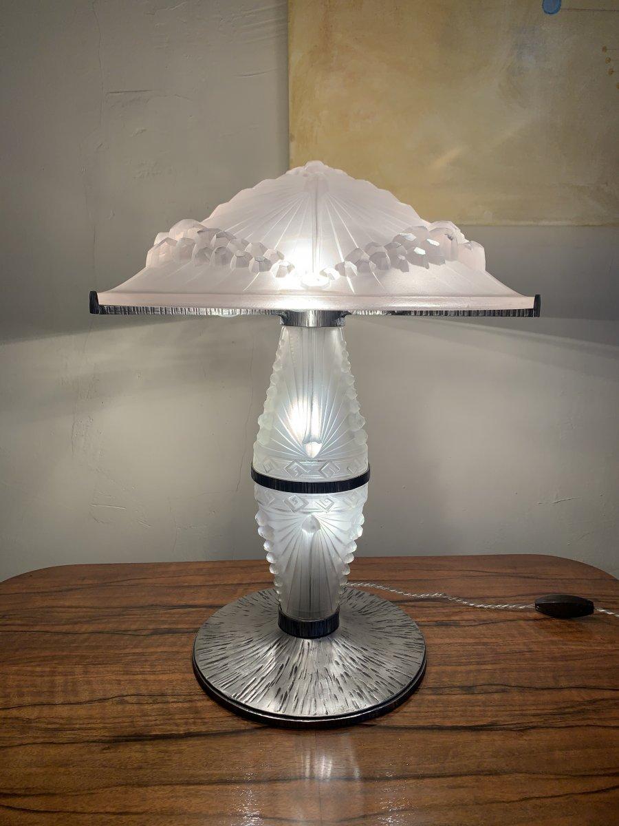 """Rarissime Lampe Art Déco """"Aux Libellules""""  Signée Schneider 1044  ( lampe art deco 1930 )"""