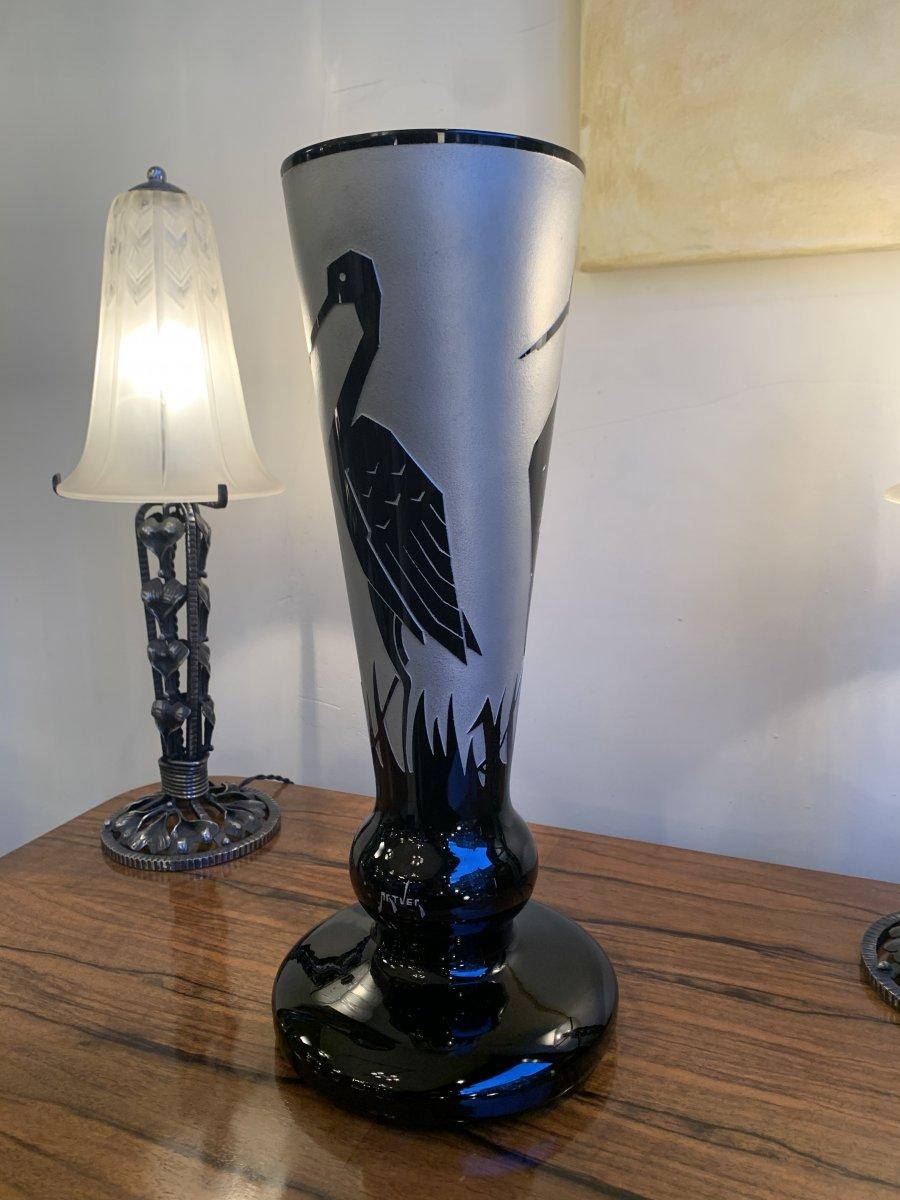 Important Vase Art Déco Paul Heller Signé Artver à 3 Cigognes Stylisées ( Verre Art Deco 1930 )
