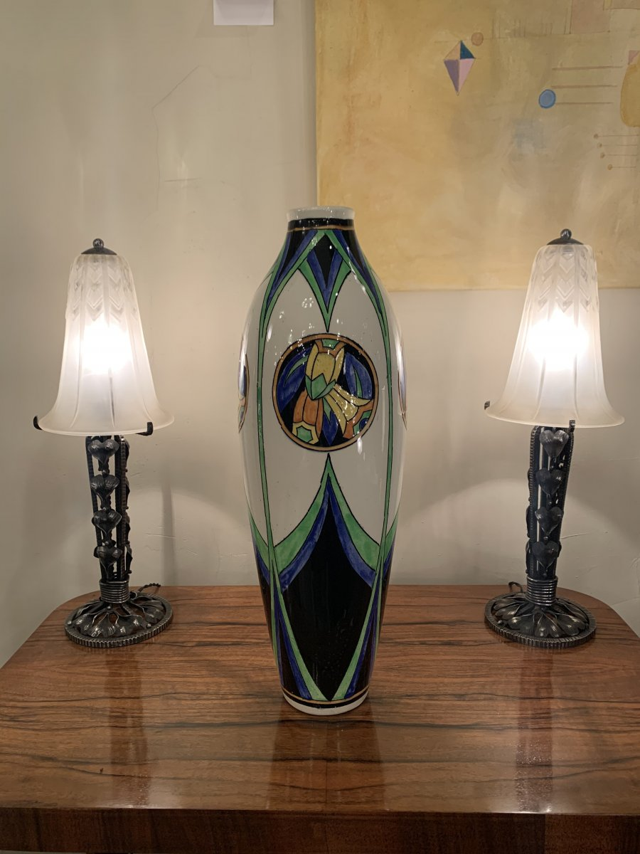 Superbe Vase Art Déco Catteau / Keramis  D 1113 F 668 Signé ( Vases - Céramique Art Deco 1930 )