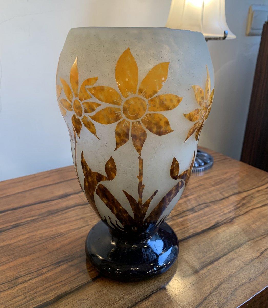 Vase Transition Art Nouveau / Art Déco En Verre Multicouche Signé Degué ( Vases Art Deco 1920)