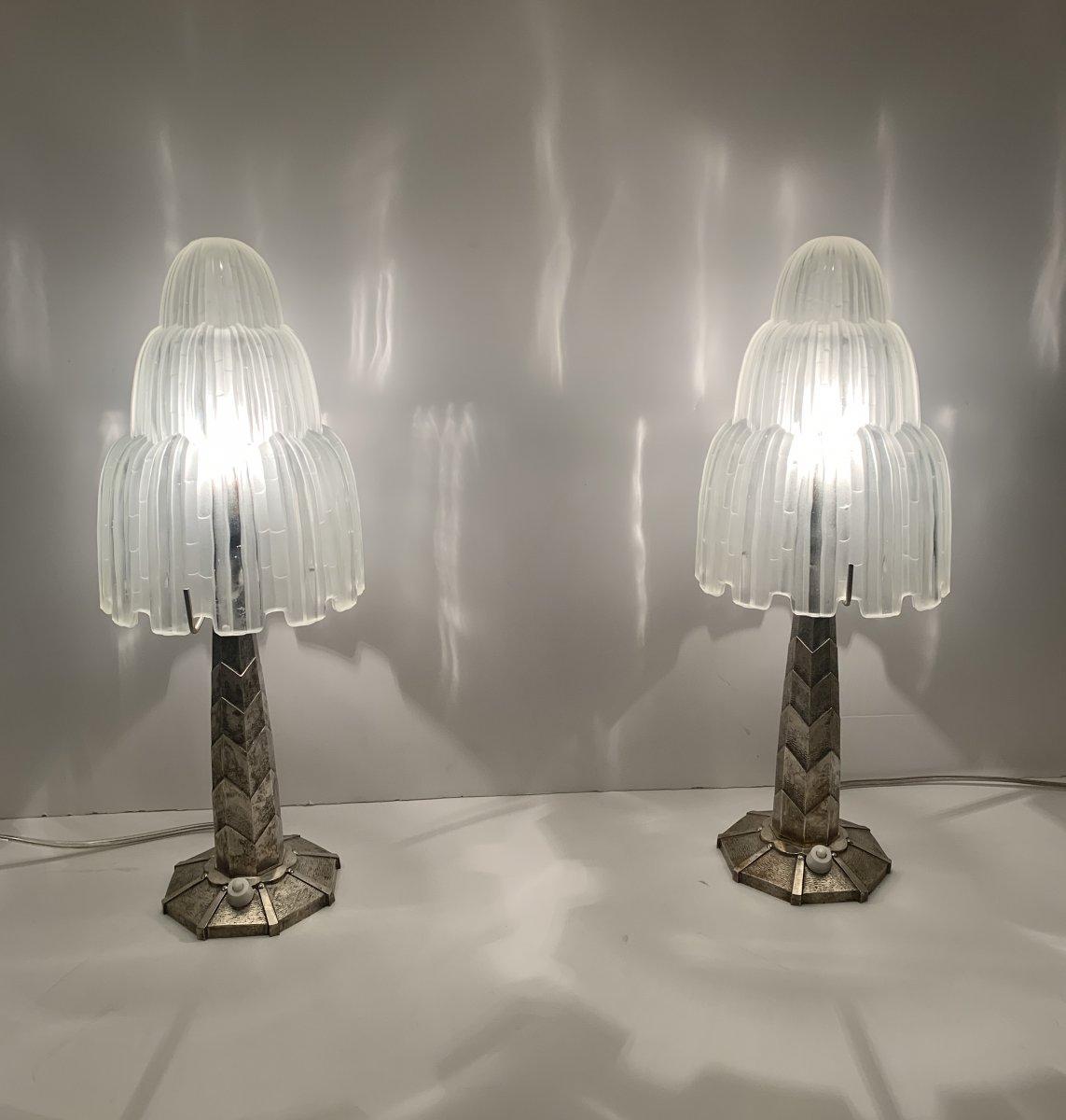 """Extraordinaire Paire de Lampes Art Déco Sabino """"Cascades""""  Signées  ( lampe art deco 1930)"""