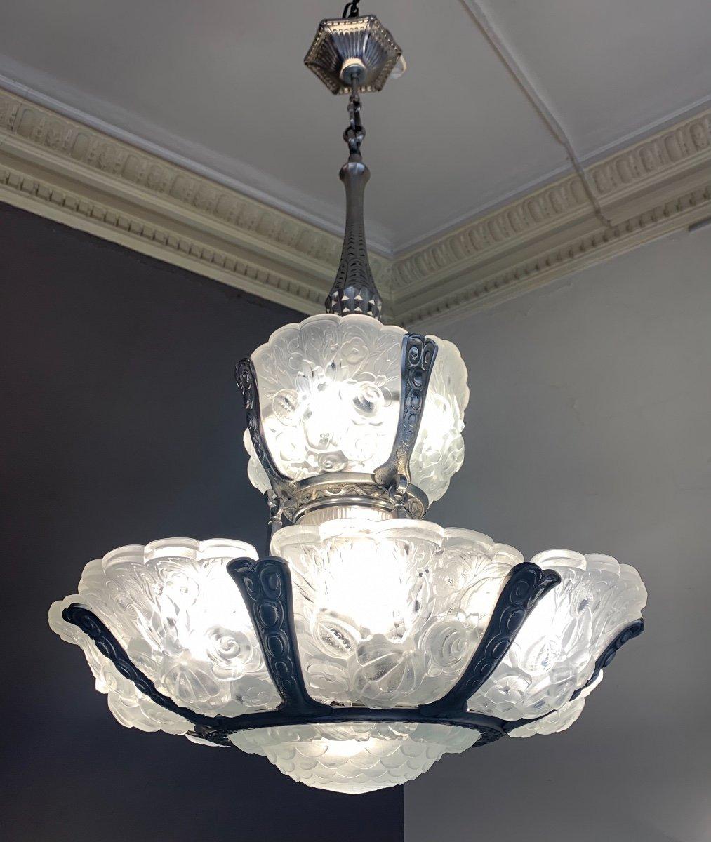 Extraordinaire Lustre Art Déco Verreries Belges à Deux étages (attribué VSL){lustres Art Deco}