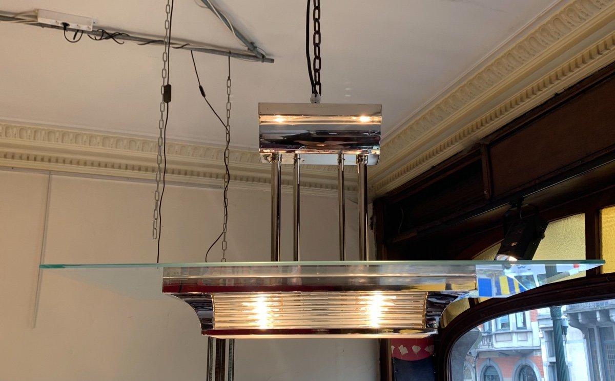Henri Petitot Modernist Art Deco Chandelier With Glass Rods (art Deco Ceiling 1930)