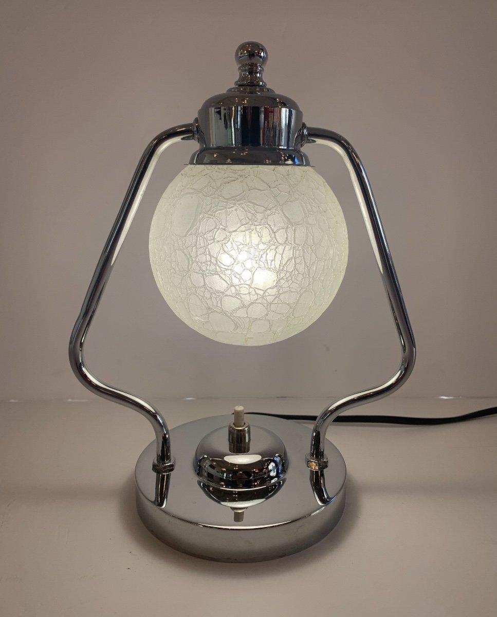 Lampe ( Paire Dispo! ) Art Déco Moderniste à Boule De Verre Craquelé  ( Lampes Art Deco 1930 )