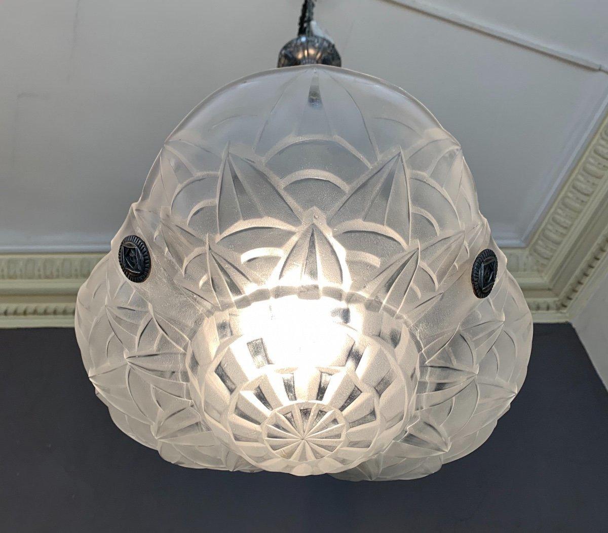 Superbe Suspension / Plafonnier Art Déco «trilobé» En Bronze Argenté Signé Degué ( 1930 ) -photo-4
