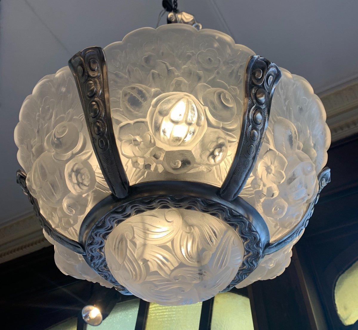 Rarissime Lustre {ensemble Dispo !}  Art Déco Verreries Belges (VSL) { Lustres Art Deco 1925 }-photo-3