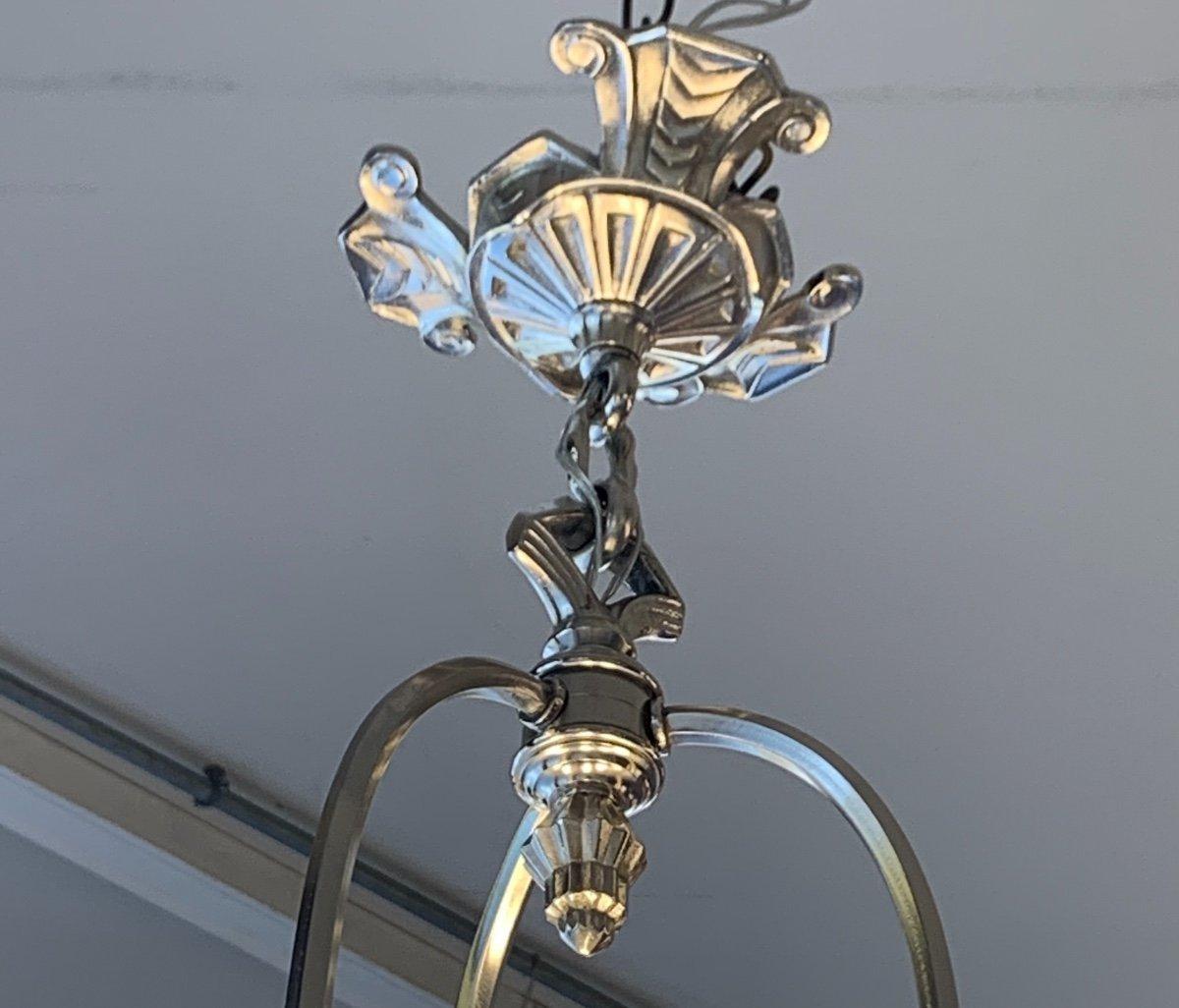 Rarissime Lustre {ensemble Dispo !}  Art Déco Verreries Belges (VSL) { Lustres Art Deco 1925 }-photo-4