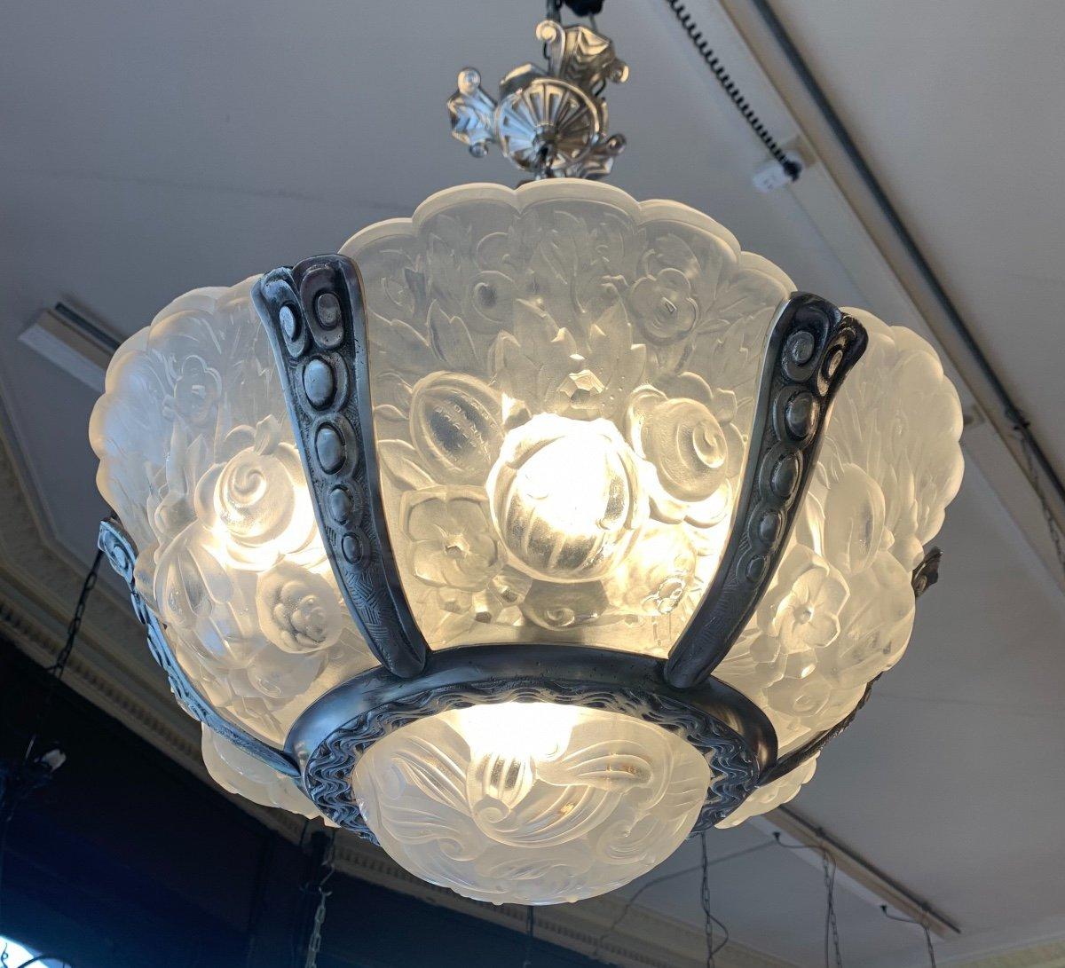 Rarissime Lustre {ensemble Dispo !}  Art Déco Verreries Belges (VSL) { Lustres Art Deco 1925 }