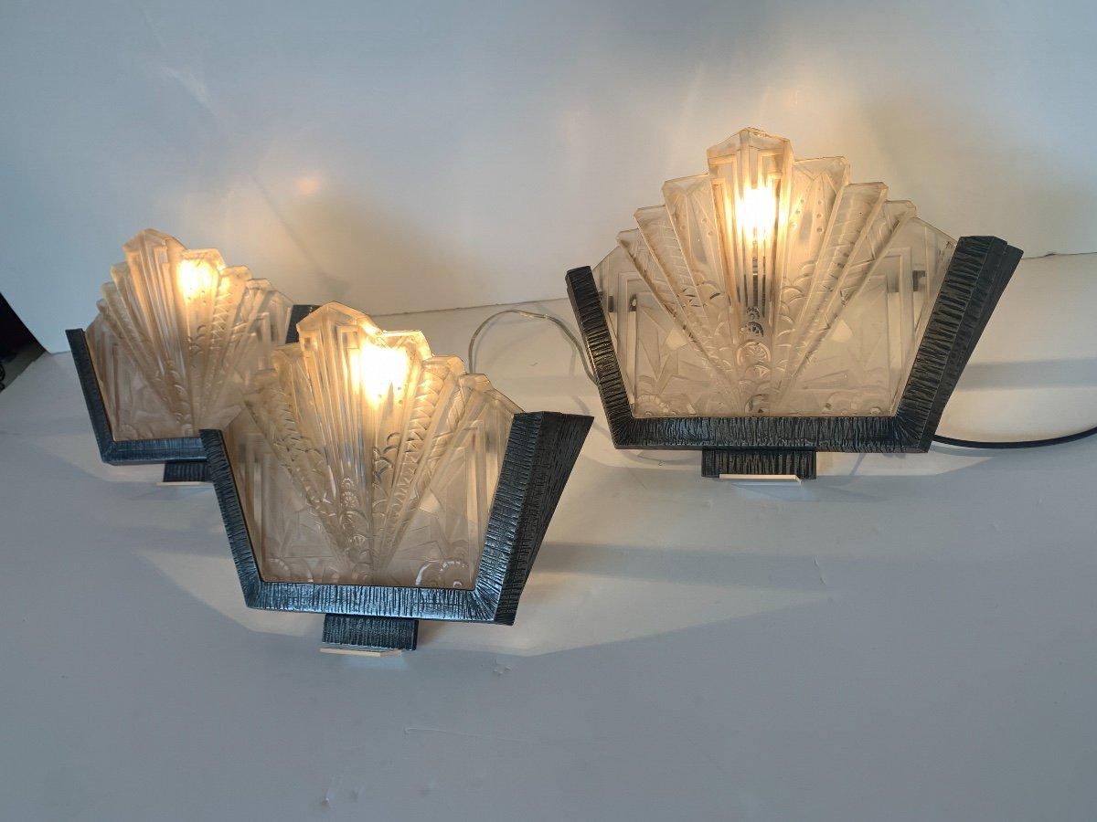Set Of Three Art Deco Sconces Signed Müller Frères (art Deco Sconces 1930)-photo-2