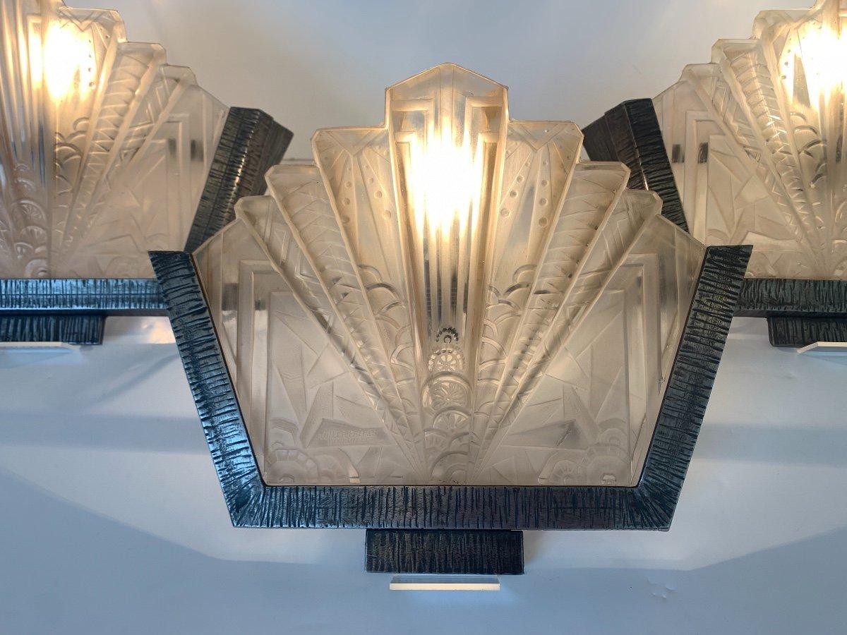 Set Of Three Art Deco Sconces Signed Müller Frères (art Deco Sconces 1930)-photo-4