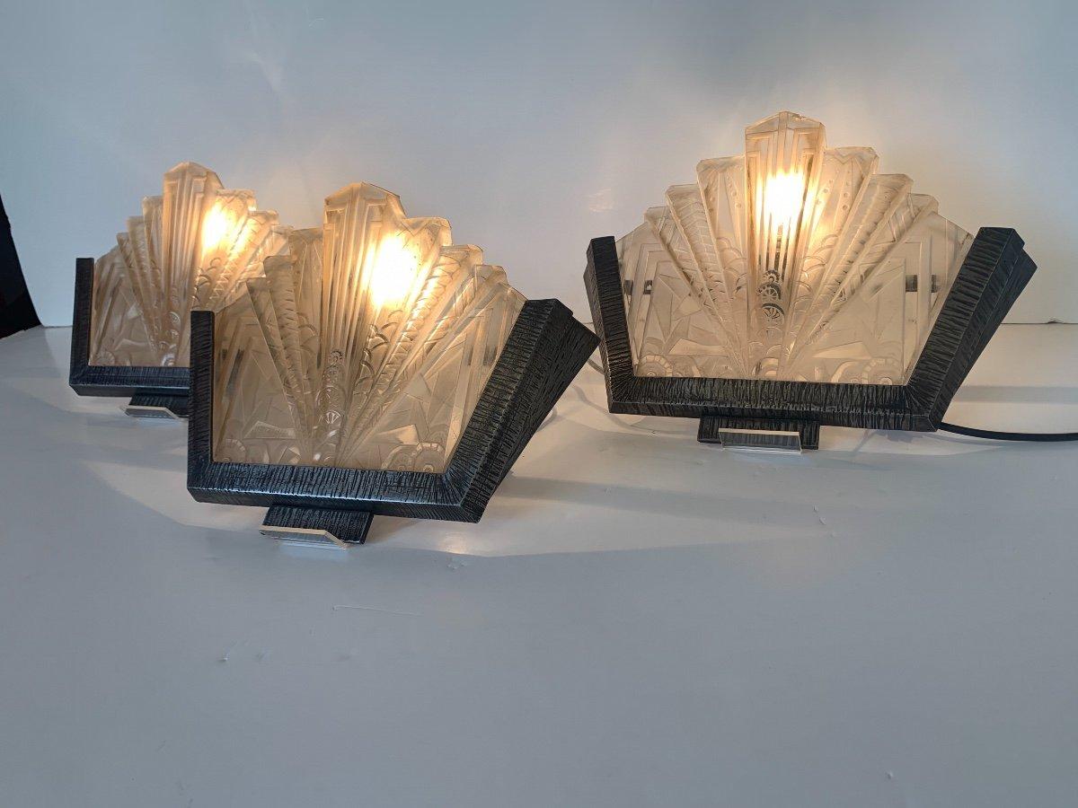 Set Of Three Art Deco Sconces Signed Müller Frères (art Deco Sconces 1930)-photo-3