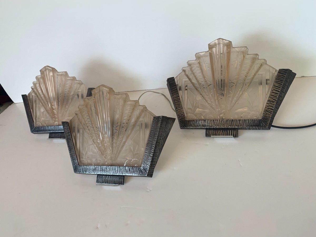 Set Of Three Art Deco Sconces Signed Müller Frères (art Deco Sconces 1930)-photo-5
