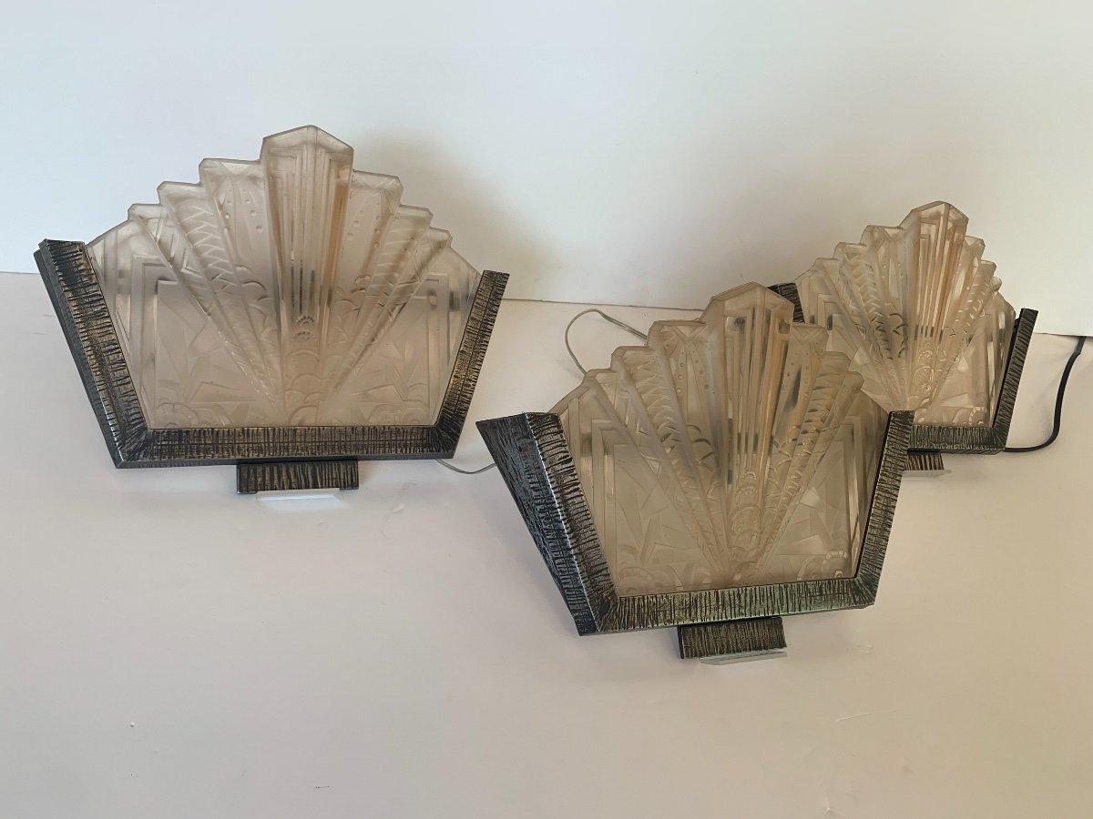 Set Of Three Art Deco Sconces Signed Müller Frères (art Deco Sconces 1930)-photo-6