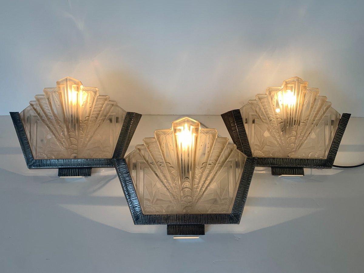 Set Of Three Art Deco Sconces Signed Müller Frères (art Deco Sconces 1930)