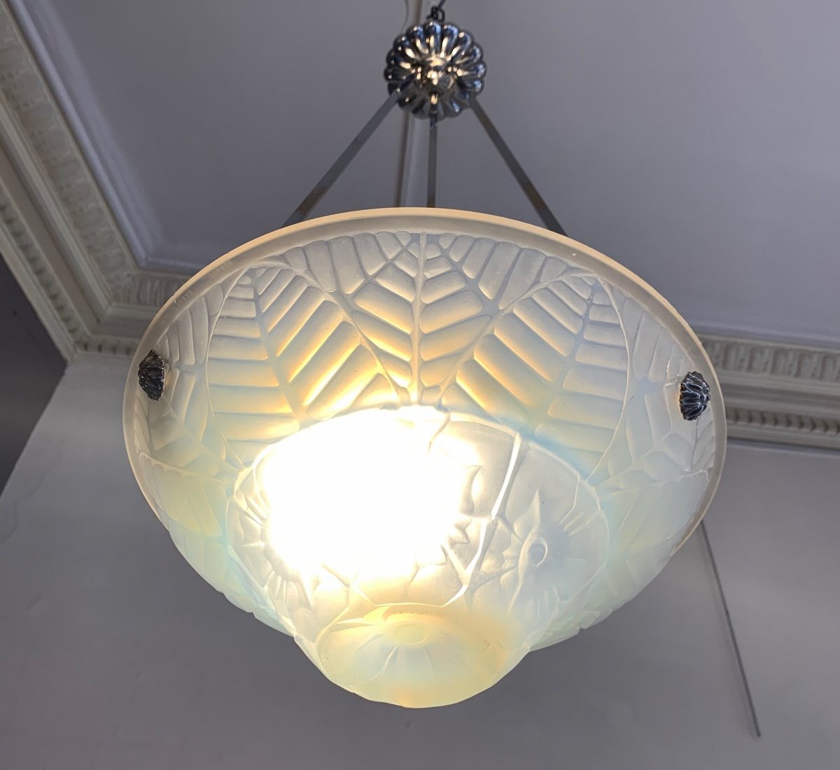 Suspension / Plafonnier Art Déco En Verre Opalescent Signé Charles Ranc ( Lustre Art Deco 1930)-photo-4