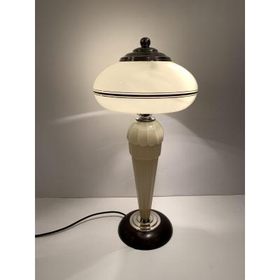 Lampe De Table / De Bureau Art Deco Verre De Clichy (cat: Lampes Art Déco 1930)