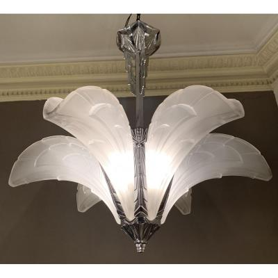 Art Deco Chandelier With 6 Cornets Signed Ejg (jean Gauthier) 1095 France (chandeliers 1930 Art Deco)