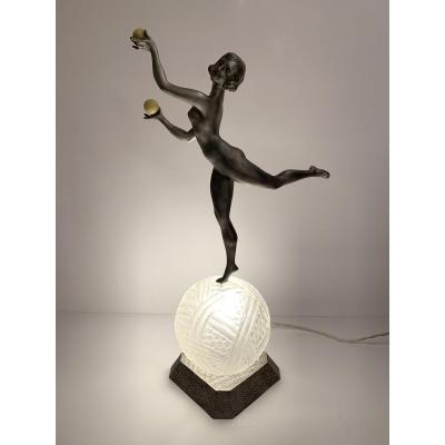 Lampe Art Deco Danseuse Aux Boules Signé Limousin Sur Verrerie Hanots (lampes Art Déco 1930)