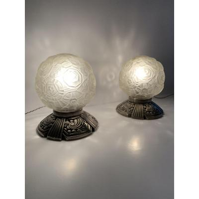 Paire De Lampes Art Deco «boules» Signées Sabino Paris (cat: Lampe Art Déco 1930)