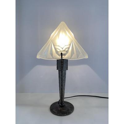 Lampe Art Déco Pyramidale Signée Degué Pied Fer Forgé (cat: Lampes Art Déco 1930)