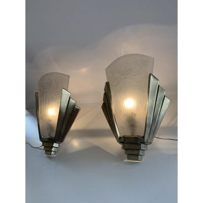 Rare Pair Of Art Deco Wall Lights Signed Müller Frères [4 Dispos!] (art Deco Wall Lamp 1930)