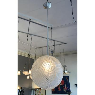 Art Deco Pendant Lamp Hettier-vincent Et Verreries Des Hanots (art Deco Chandelier 1930)