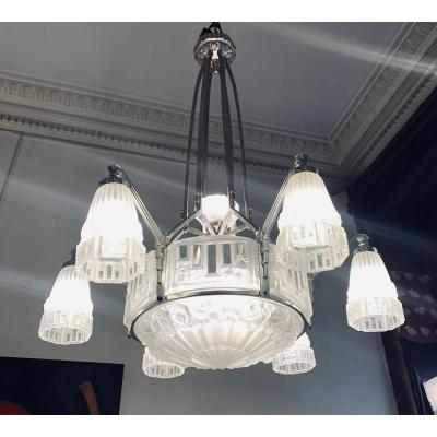 Important Art Deco Chandelier J. Robert (Jean Gauthier)<br />