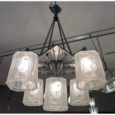 Exceptional Art Deco Chandelier Hettier & Vincent With 5 Cubes (art Deco Chandeliers 1930)