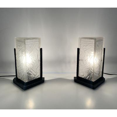 Pair Of Art Deco Lamps / Night Lights J. Robert (art Deco Lamp 1930)