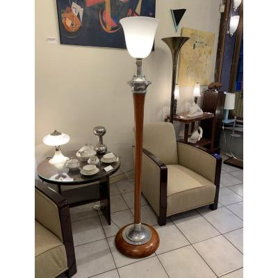 Mazda Art Deco Floor Lamp [marked] In Turned Wood (lamp - Art Deco Floor Lamps 1930)