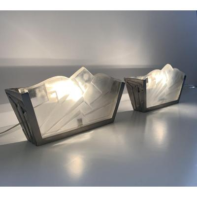 Pair Of Art Deco Trapezoidal Sconces Signed Degué (sconce - Art Deco Lamp 1930)
