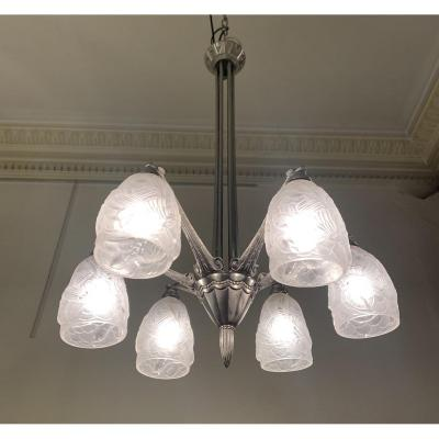 Art Deco French Work Chandelier 6 Tulips {nickel Bronze} (art Deco Suspension 1930)