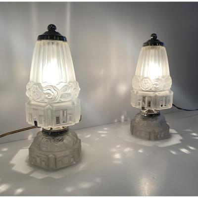 Pair Of Art Deco Table Lamps Or Night Lights J. Robert (art Deco Lamp / Lighting 1930)