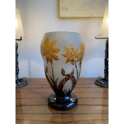 Art Nouveau / Art Deco Transition Vase Signed Degu&eacute;<br />