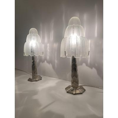 "Extraordinary Pair Of Signed Art Deco Sabino ""cascades"" Lamps (1930 Art Deco Lamp)"