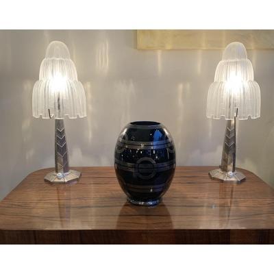 Art Deco Bohemian Glass Vase Signed Hem (michel Herman) (art Deco Vases 1930)