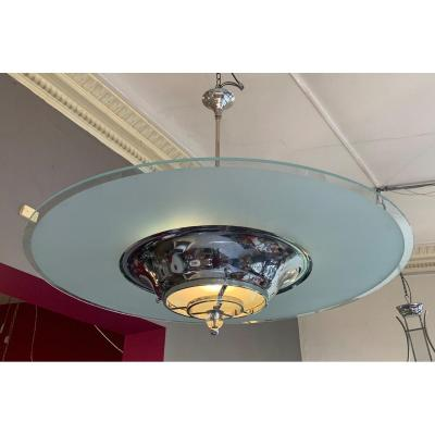 Important Modernist Art Deco Chandelier With Sanded Glass Disc (art Deco Chandeliers 1930)