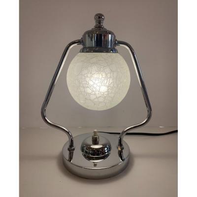 Lampe Art Déco Moderniste à Boule De Verre Craquelé { Paire Dispo ! } ( Lampes Art Deco 1930 )