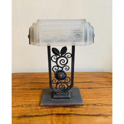 Rare Lampe Art Déco En Fer Forgé Signée E.J.G ( Lampes Art Deco 1930 )