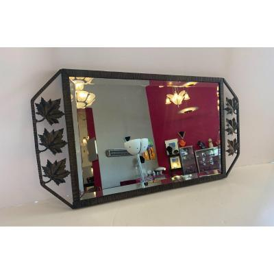 Miroir Art Déco En  Verre Biseauté Et Fer Forgé Patiné - Ouvragé ( Miroirs Art Deco 1930 )